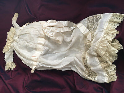 Exquisite Victorian Antique Christening long gown, ORGANDY, fine lace+embroidery