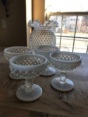 Antique hobnail glass vintage white and clear Floral Case And Champagne Goblets