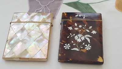 Victorian Tortoise Shell and Mother of Pearl Card Cases