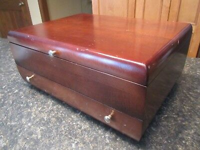 Vintage Reed & Barton Single Drawer Silverware Lined Storage Box Chest