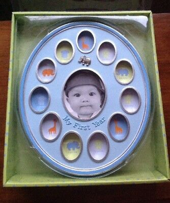 """Baby Essentials Blue """"My First Year"""" One Year Baby Picture Frame New"""