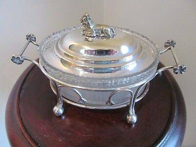 Antique Crystal Glass Butter Dish In White Metal Basket With Goat Handled Lid