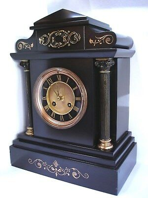 Architectural Marble Clock -  c1885 - Highly restored & fully serviced. Key.