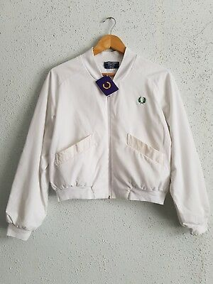 NEW Vintage Fred Perry Ladies Tennis White Jacket Size S Small