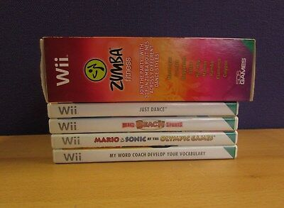 Mixed Lot Of 5x Wii Games (Untested) - Includes Zumba Fitness Game & Belt