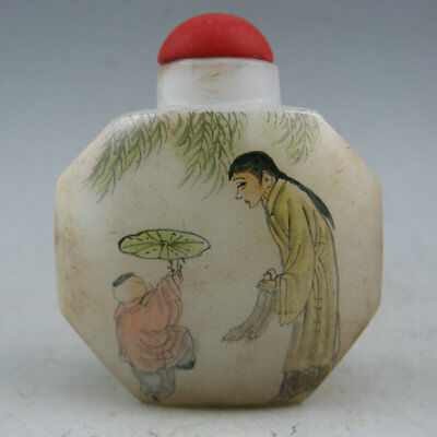 Collectible Chinese Old Peking glass Hand Painted Person Snuff Bottle