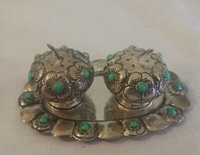 Very Cool Pair Of Mid-Century Mexican Sterling Salt And Pepper Pumpkins & Tray