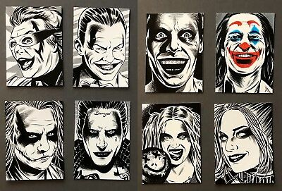 6 Joker And 2 Harley Quinn Hand Drawn Art Cards By Pro Artist  Dc Comics Batman