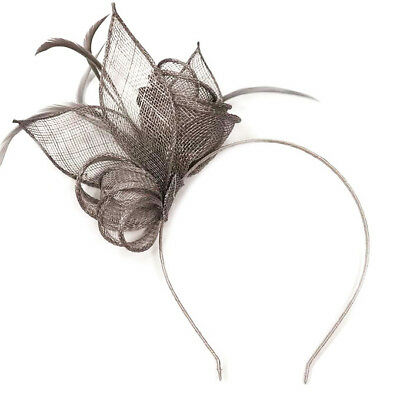 Silver Grey Feather Aliceband Headband Fascinator Ladies Day Races Wedding 5