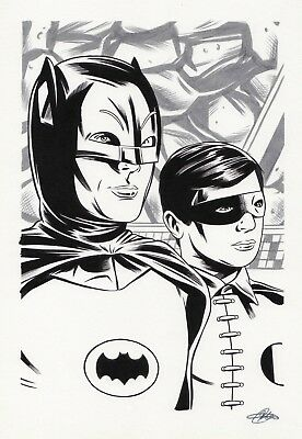 ORIGINAL BATMAN 66 ART BY PRO ARTIST (11.7 x 8.3) DC COMICS PLUS 4 SKETCHES