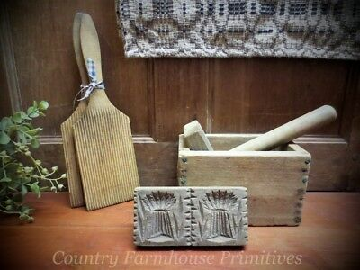 Butter Mold Stamp Press ~ Wheat | Wooden Kitchen Antique | Primitive Gathering