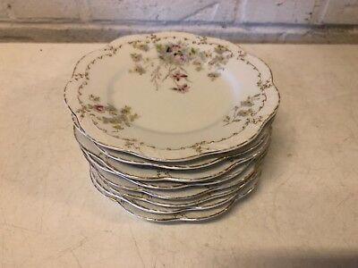 Vintage Possibly Antique English Porcelain Set of 8 Floral Decorated Plates