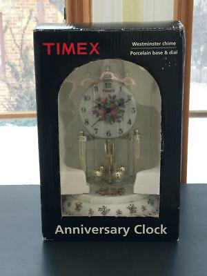 Vintage Timex Porcelain Glass Dome Anniversary Clock With Westminster Chimes