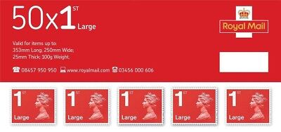Royal Mail 200 x Large Letter 1st Class Self Adhesive Stamp Sheet (50 x 4)
