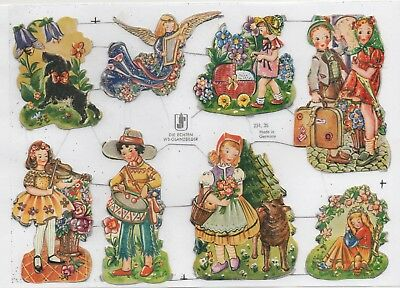 Alte Oblaten Glanzbilder Scraps WS 251/35 Kinder Märchen... in EB kompl. Rar!!