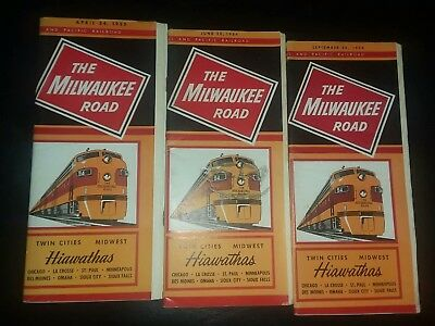 Lot Of 3 Vintage The Milwaukee Railroad Timetables ( 1954 & 1955 ).