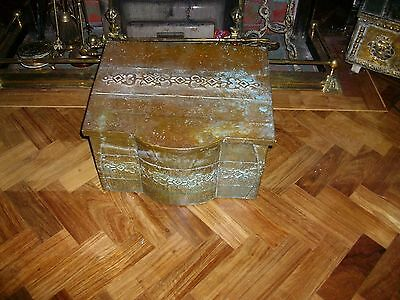 Arts & Craft  Brass Coal/Wood  Box