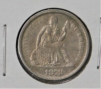 1878 Seated Liberty Dime - Almost Uncirculated !! Free Shipping !!