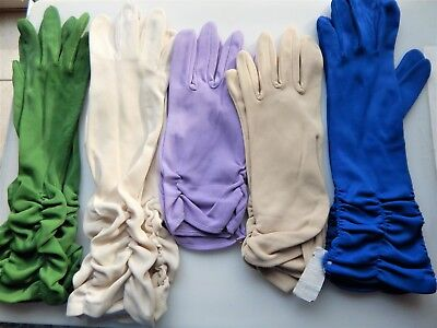5 Pair Vintage Long + Short Ruched Ladies Gloves Lavender Cream Blue Green Tan