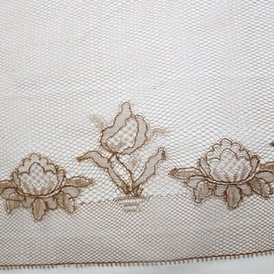Antique Brown cotton embroidered Flower lace, France