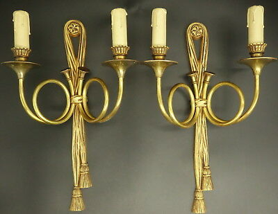 Large Pair Of Sconces, Hunting Horns, Louis Xvi Style - Bronze - French Antique