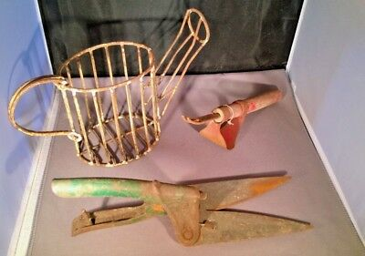Vintage wire watering can topiary form, clippers & weeder