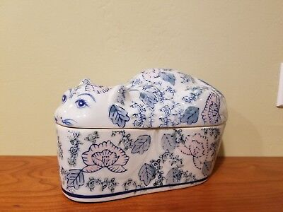 Ceramic Floral Cat Container With Lid Made In China