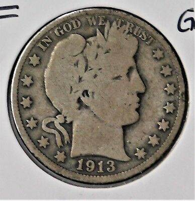 1913 Barber Half Dollar - Good + Condition !!! Free Shipping !!!