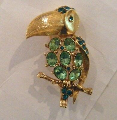 Gold Tone Toucan Brooch With Green Rhinestones