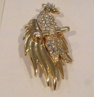Monet Gold Tone Peacock Brooch  Pin With Clear Rhinestones