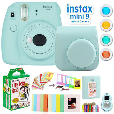 Fujifilm Instax Mini 9 Instant Camera w/ Deco Gear Accessories & Film (Ice Blue)