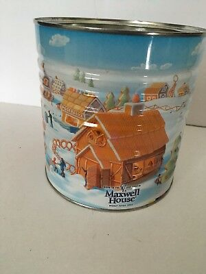 VINTAGE 2005 MAXWELL HOUSE COFFEE Winter Serious TIN CAN *EMPTY Robin Moline