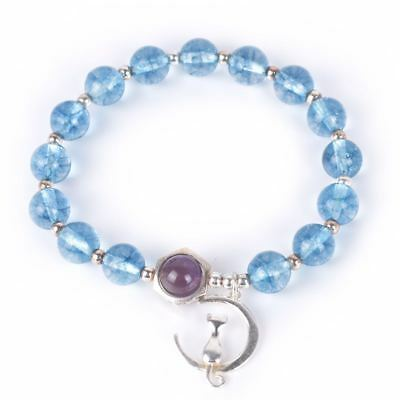 925 Silver Cat on the Moon Charm with Healing Crystal Gemstone Bracelet Women