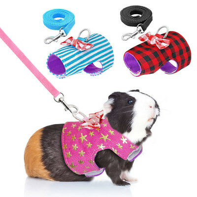 Pet Soft Harness With Leash Small Animal Vest Lead for Hamster Rabbit Bunny Cute