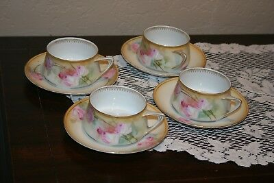 Antique RS Germany Floral Set of 8 Porcelain Cups and Saucers