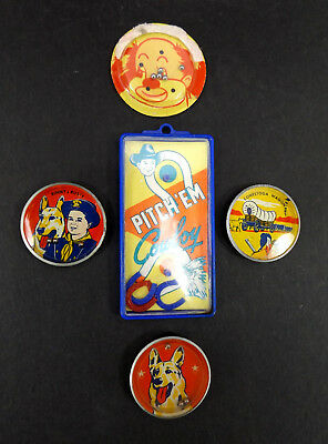 1950s Nabisco tin Dexterity Puzzle LOT TV Cereal Premium vtg game Cowbow Rin Tin
