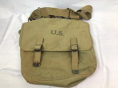 WWII WW2 US U.S. Pack,Musette,Original,Tan,Khaki,Army,Dated,1943,M1936,Bag,Back
