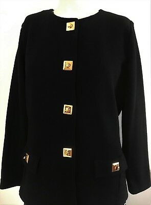 ST JOHN Size 8 Black Jacket Collection By Marie Gray Blazer