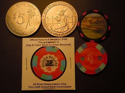 A small group of Casino Chips, Slot Tokens, Silver Palace 5$ Collectible