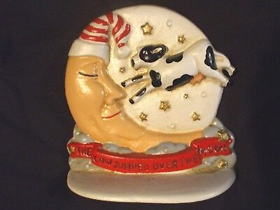 "Vintage ""the Cow Jumped Over The Moon"" Hand Painted Heavy Cast Iron Doorstop"