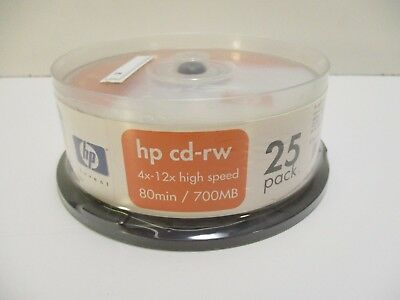 HP cd-rw 4x-12x high speed 80 minutes 700mb  25 pack new old stock
