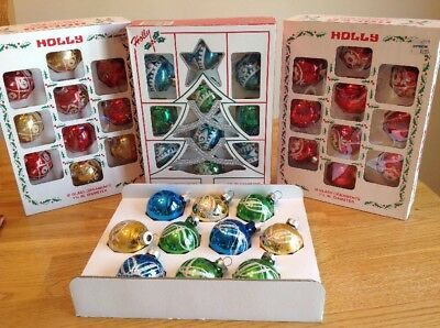 """Vintage Holly Glitter Stenciled Glass Ornaments Lot of 40 boxed 1 3/4"""""""