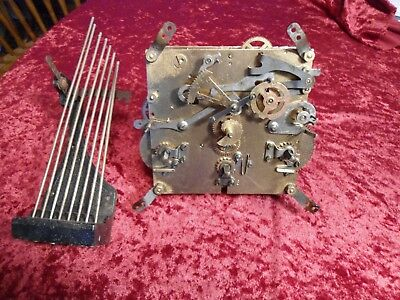 Antique Westminster Wurttemberg Clock Movement With Dial and Rods
