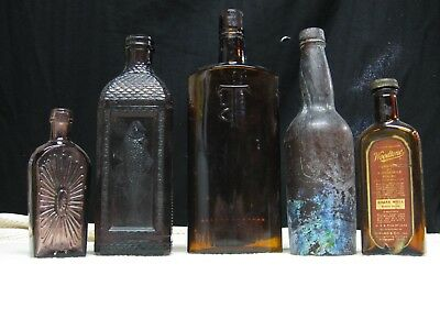 Eclectic Lot of 5 Antique Bottles - Lead, Fish, Applied Lip!