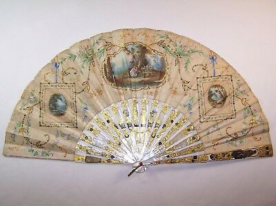 SUPERB 19thC french carved mother-of-pearl romantic fan