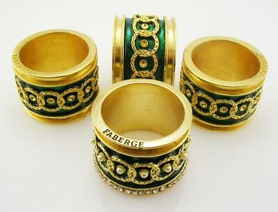 "Set of 4 Faberge Napkin Rings  1 1/2"" x 1""   Green"