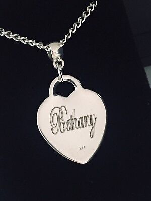 Personalised  925 silver plated necklace & Pendant Bridesmaid Girl Engraved Gift