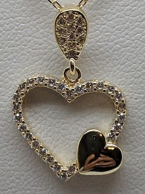 14K Solid Yellow Gold Classic Heart  Pendant Necklace With Chain 0.50CT