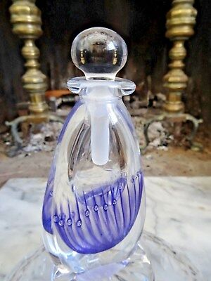 HAND BLOWN ART GLASS PERFUME BOTTLE Paper Weight Signed & Dated