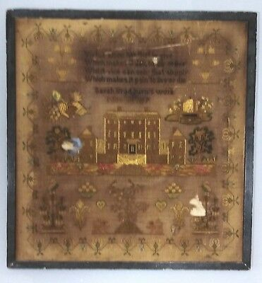 Rare antique 1819 Georgian large sampler Sarah Bradburns work